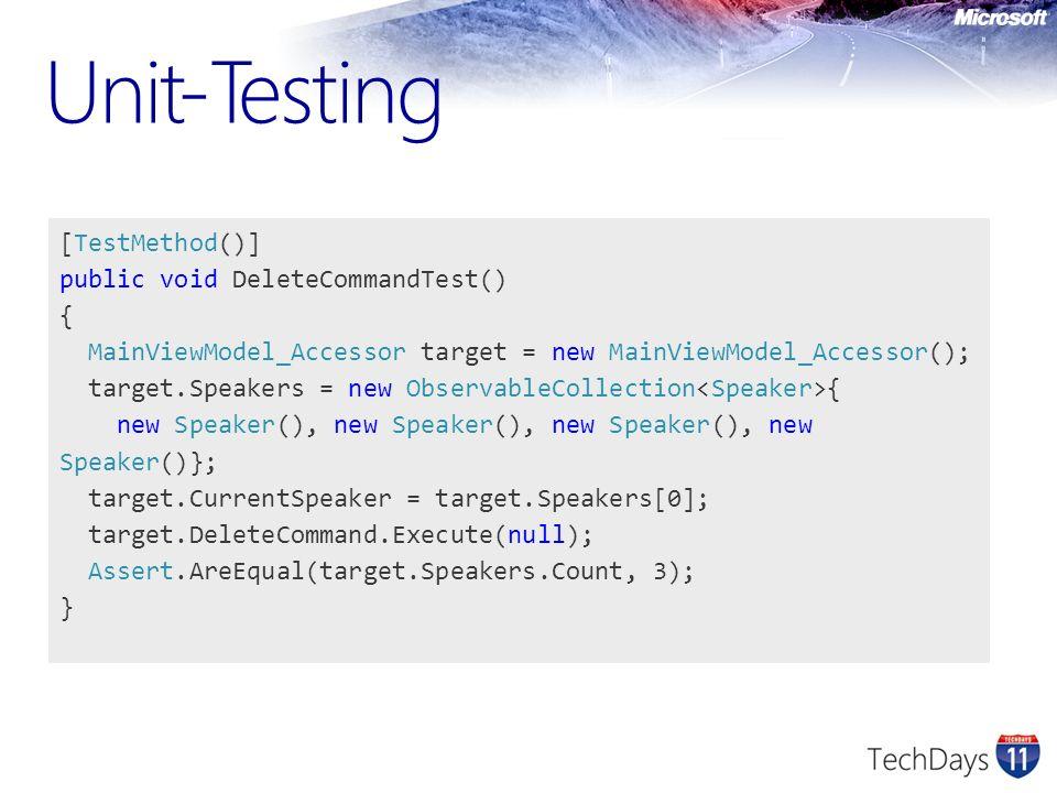 Unit-Testing [TestMethod()] public void DeleteCommandTest() {